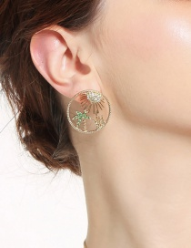 Fashion Gold Color Tree Shape Decorated Round Earrings