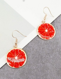 Fashion Red Grapefruit Shape Decortaed Earrings