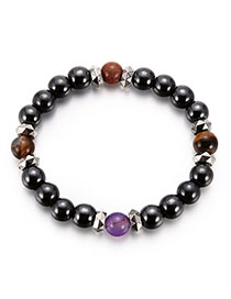 Fashion Black+purple Color-matching Decorated Bracelet
