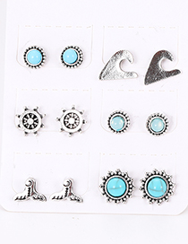 Fashion Silver Color Round Shape Decorated Earrings Sets(6 Pairs)