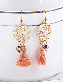 Fashion Gold Color Tassel Decorated Hollow Out Earrings