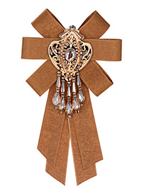 Vintage Brown Tassel Decorated Bowknot Brooch