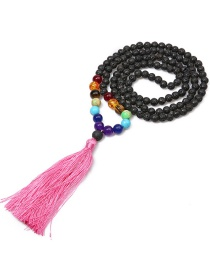 Vintage Pink Tassel Decorated Necklace (6mm)