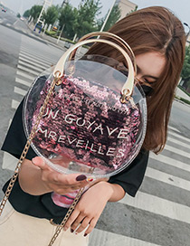 Fashion Pink Round Shape Decorated Shoulder Bag