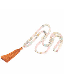 Fashion Brown Tassel&bead Decorated Necklace