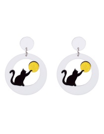 Fashion Black Cartoon Cats Decorated Earrings