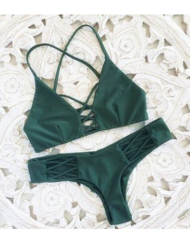 Fashion Olive Green Pure Color Decorated Bikini