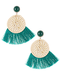 Elegant Green Round Shape Design Tassel Earrings