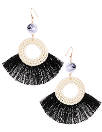 Elegant Black Circular Ring Decorated Tassel Earrings