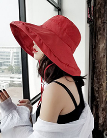 Fashion Brick Red Pure Color Decorated Fisherman Hat