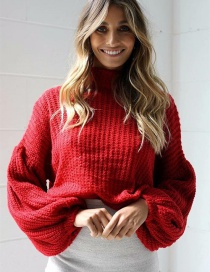Fashion Red Puff Sleeves Design Pure Color Sweater