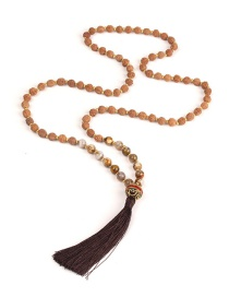 Trendy Coffee Beads Decorated Long Tassel Necklace