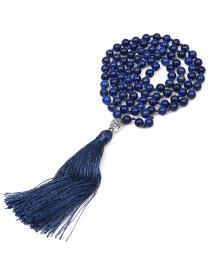 Vintage Navy Pure Color Design Long Tassel Necklace