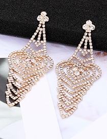 Elegant Gold Color Heart Shape Design Hollow Out Earrings