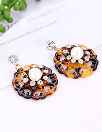 Elegant Coffee Hollow Out Flowers Decorated Earrings