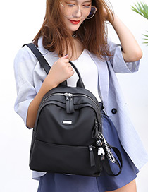 Elegant Black Double Zippers Decorated Casual Backpack