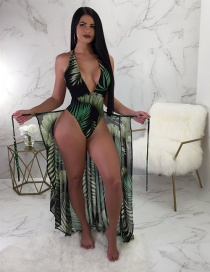 Sexy Dark Green Leaf Pattern Decorated Swimwear With Smock(2pcs)