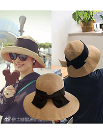 Trendy Light Coffee Bowknot Decorated Sunscreen Hat