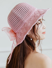 Trendy Pink Bowknot Decorated Knitted Sunscreen Hat