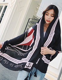 Fashion Black+white Letter Pattern Decorated Dual-use Scarf