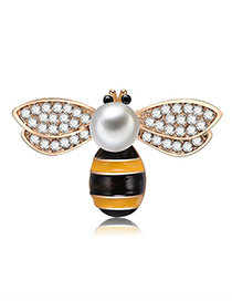 Fashion Yellow Cartoon Bee Shape Design Brooch