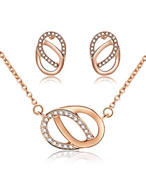 Fashion Gold Color Hollow Out Oval Shape Design Jewelry Sets