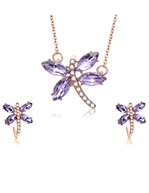 Fashion Rose Gold Dragonfly Shape Decorated Jewelry Sets