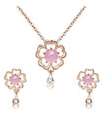 Fashion Gold Color Flowers Shape Decorated Jewelry Sets