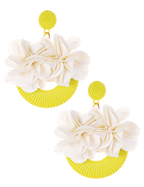 Elegant Yellow Flowers Decorated Simple Earrings