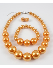 Elegant Orange Full Pearls Design Pure Color Jewelry Sets