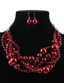 Elegant Claret Red Pearls Decorated Pure Color Jewelry Sets