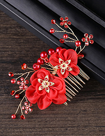 Fashion Red Flowers&pearls Decorated Bride Hair Accessories