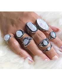 Fashion Silver Color Oval Shape Gemstone Decorated Ring(8pcs)