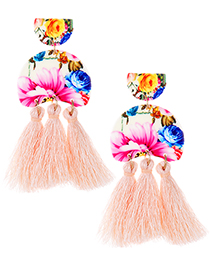 Fashion Light Pink Flower Pattern Design Tassel Earrings