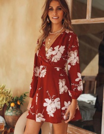 Fashion Red Flowers Pattern Design V Neckline Dress