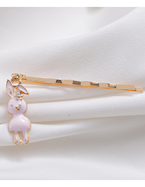 Sweet Pink Rabbit Pendant Decorated Hairpin