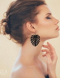 Fashion Black Leaf Shape Design Pure Color Earrings