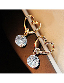 Fashion Gold Color Diamond Decorated Heart Shape Earrings