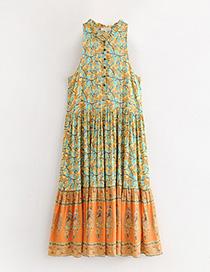 Fashion Orange Flower Pattern Decorated Dress