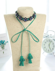 Fashion Green Bowknot Shape Decorated Necklace