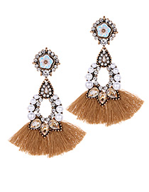 Fashion Khaki Flower Shape Decorated Tassel Earrings