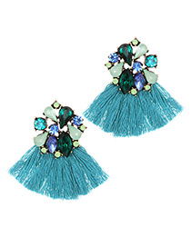 Fashion Blue Geometric Shape Decorated Tassel Earrings