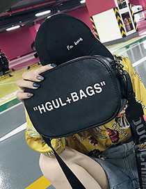 Fashion Black Letter Pattern Decorated Bag