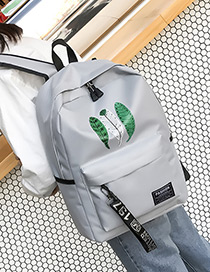 Fashion Gray Leaf Pattern Decorated Backpack