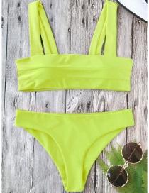 Sexy Green Pure Color Decorated Swimwear(2pcs)