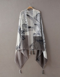 Fashion Gray Flower Pattern Decorated Scarf