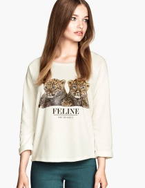Fashion White Leopard Pattern Decorated Blouse