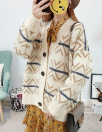 Fashion Beige Geometric Pattern Decorated Sweater