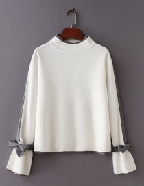 Fashion White Color-matching Decorated Sweater