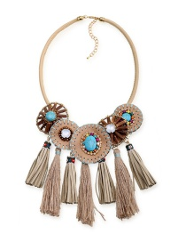 Fashion Khaki Tassel Decorated Round Choker